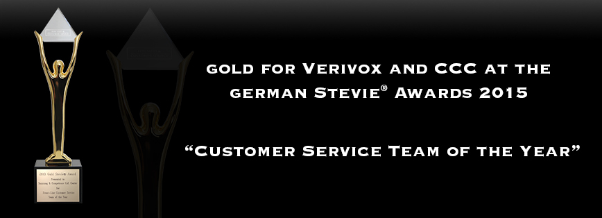 Gold for Verivox and CCC at the German Stevie® Awards 2015
