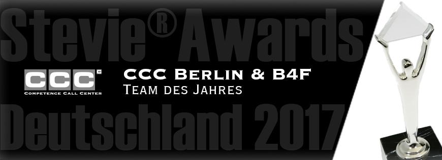 """CCC Berlin und brands4friends sind """"Team des Jahres"""""""