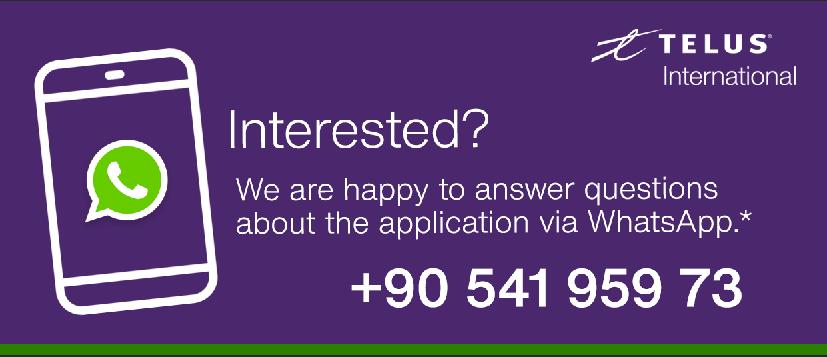Kontaktiere uns per WhatsApp unter der Nummer: 905419597396