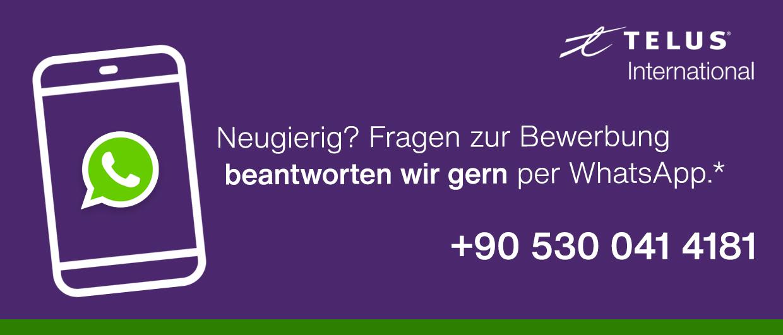 Kontaktiere uns per WhatsApp unter der Nummer: 905300414181